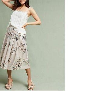 Anthropologie Champagne Garden Skirt